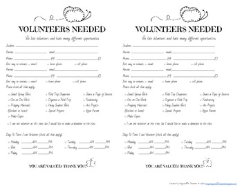 Back to School Forms: Volunteer, Student, Communication, Birthday Calendar