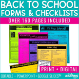 Back to School Forms and Checklists | Editable