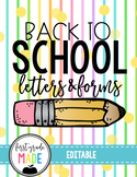 Back to School Forms, Letters, Permissions and Handouts EDITABLE