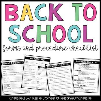 Back to School {Forms and Procedure Check List}