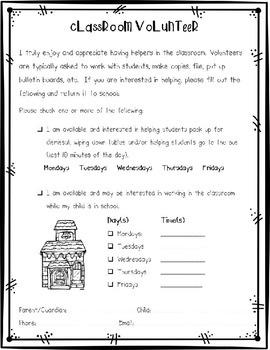 Back to School Forms for Kindergarten