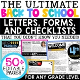 Back to School Forms for Open House, Meet the Teacher, Parent Night | EDITABLE