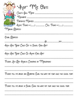 Back to School Forms with a Froggy Theme