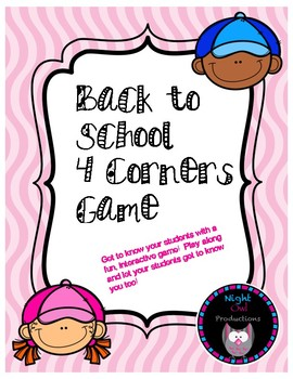 Back to School Four Corners Game