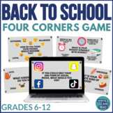Back to School Four Corners Power Point Game for Grades 6-12