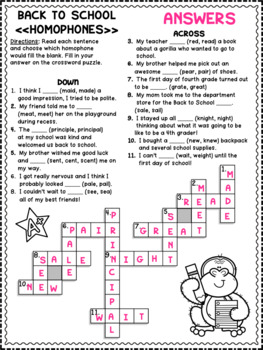 Fourth Grade Back to School Activity Sheets