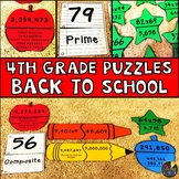 Back to School Fourth Grade Math Puzzles