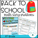 Back to School Fourth Grade Math Story Problems   Distance Learning DIGITAL