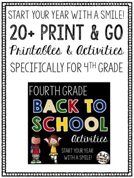 Back to School Fourth Grade Printables and Activities