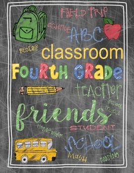 Back to School Fourth Grade Teacher's Gift