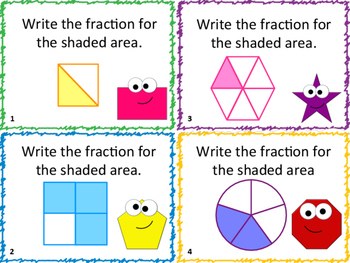 Back to School: Fraction Review Task Cards: 32 Cards (Grades 2-3)