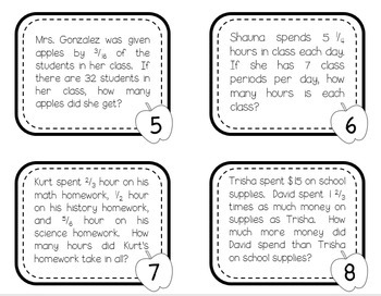 Back to School Fraction Math Word Problem Task Cards