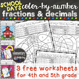 Back to School Fractions and Decimals Color By Number Free Worksheets