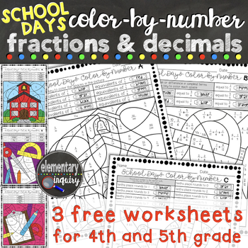 back to school fractions and decimals color by number free worksheets. Black Bedroom Furniture Sets. Home Design Ideas