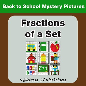Back to School: Fractions of a Set - Color-By-Number Math Mystery Pictures