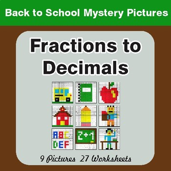 Back to School: Fractions to Decimals - Color-By-Number Math Mystery Pictures