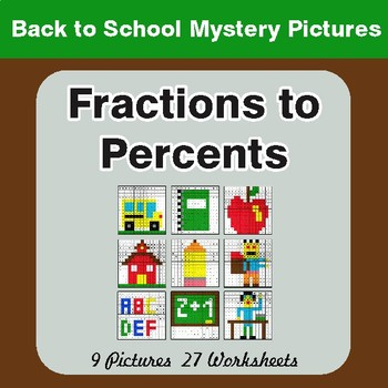 Back to School: Fractions to Percents - Color-By-Number Math Mystery Pictures