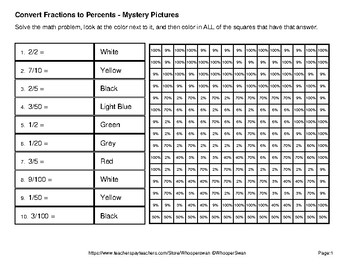 Back to School: Fractions to Percents - Color-By-Number Mystery Pictures