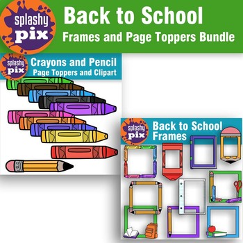 Back to School Frames and Page Toppers Bundle Clipart