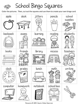 Back to School Free Create Your Own Luck Bingo