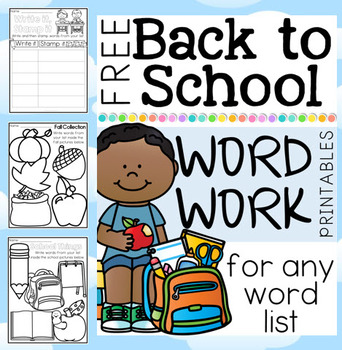 Freebee Printables - Back to School Word Work