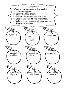 All About Me Back to School September Apples Activity