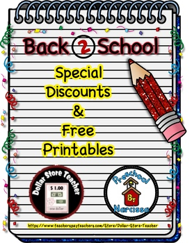 Back to School Freebie #20 -  #StartFreshBTS - Preschool by Narcissa