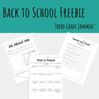 Back to School Freebie - All about me, Community building, Goal setting