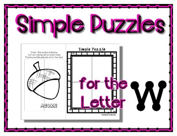 Back to School Freebie #44 -  Simple Puzzles W - Preschool by Narcissa