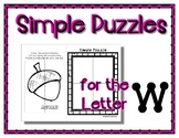 Back to School Freebie #44 -  Simple Puzzles W - Preschool