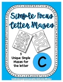 Back to School Freebie #52-  Simple Letter Mazes C - Presc