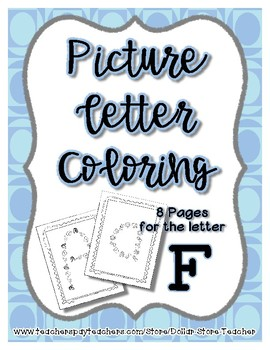 Back to School Freebie #54 -  Picture Letter Coloring F - Preschool by Narcissa