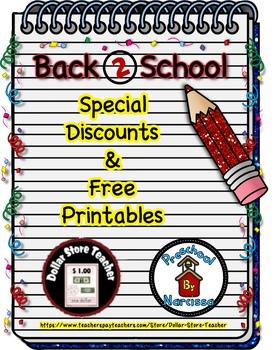 Back to School Freebie #6 -  #StartFreshBTS - Preschool by Narcissa