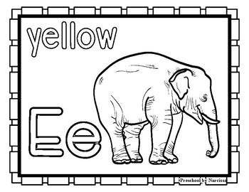 Back to School Freebie #74-  Elephant Color Pages - Preschool by Narcissa