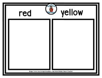 Back to School Freebie #76- Red / Yellow Color Size Sort - Preschool by Narcissa