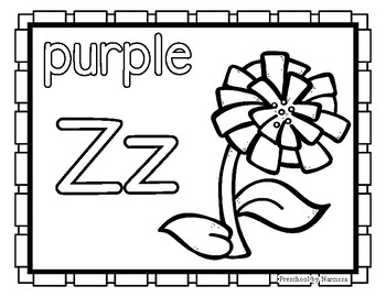 Back to School Freebie #77-  Zinnia Color Pages - Preschool by Narcissa