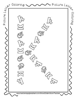 Back to School Freebie #82-  Picture Letter Coloring K - Preschool by Narcissa