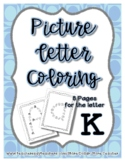 Back to School Freebie #82-  Picture Letter Coloring K - P