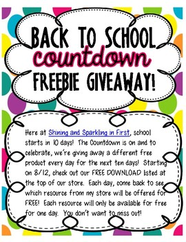 Back to School Freebie A Day Giveaway