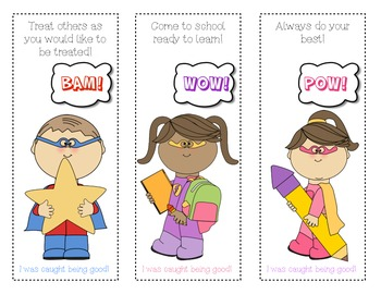 Back to School Freebie ~Caught Being Good Bookmarks!