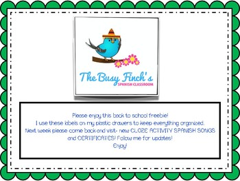 Back to School Freebie! Drawer Labels!