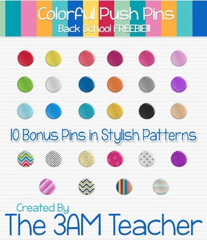 Back to School Freebie: FREE Push Pin Graphics / Clip Art