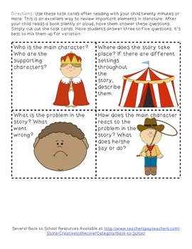 Back to School Freebie ~ Fiction Task Cards for Parents!