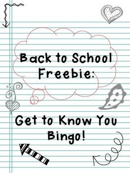 Back to School Freebie: Get to Know You Bingo!