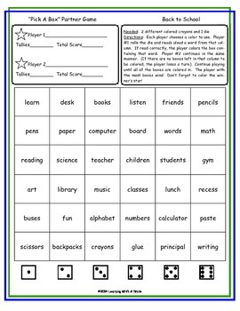 Back to School FREE - No Prep Partner Game: Great Literacy Center!