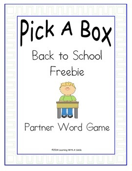 Back to School FREE - No Prep Partner Game: Great Literacy