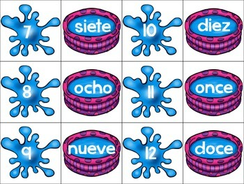 Back to School Freebie Spanish Number Match Up