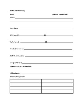 Free Back to School Freebie: Student Information Sheet and Planner