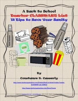 Back to School Freebie- Teacher CLASSMART List