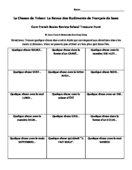 Back to School French Basics Review Treasure Hunt